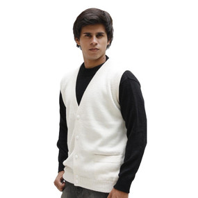 Men's Superfine Alpaca Wool Knitted V Neck Sweater Button Down Golf Vest