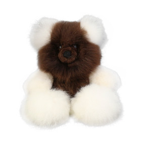 "Superfine 100% Baby Alpaca Fur Stuffed Artist Teddy Bear 11"" Ivory/Brown (22B-100-012)"