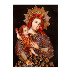 "Madonna And Child Original Colonial Cuzco Peru Folk Art Oil Painting On Canvas  16"" x 12"""