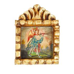 """Military Archangel Peru Retablo Folk Art Painting Handcarved Wood Altarpiece   5.5""""H x 4""""W"""