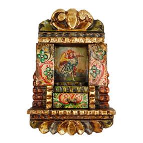 """Military Archangel Peru Retablo Folk Art Painting Handcarved Wood Altarpiece   11""""H x 7.5""""W (4328)"""