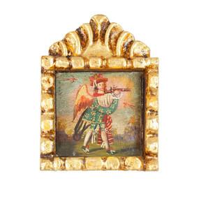 """Military Archangel Peru Retablo Folk Art Painting Handcarved Wood Altarpiece  5.5""""H x 4""""W  (4342)"""