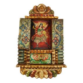 """Archangel Michael Peru Retablo Folk Art Painting Handcarved Wood Altarpiece  14""""H x 9""""W  (4297)"""