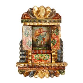 """Military Archangel Peru Retablo Folk Art Painting Handcarved Wood Altarpiece 11""""H x 7.5""""W  (4321)"""