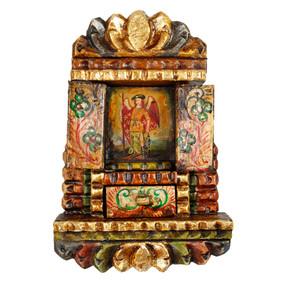 """Archangel Gabriel Peru Retablo Folk Art Painting Handcarved Wood Altarpiece 11""""H x 7.5""""W (4325)"""