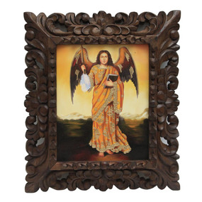 "Archangel Jofiel Framed Colonial Cuzco Peru Oil Painting On Canvas Handcarved   15""H x 13""W"