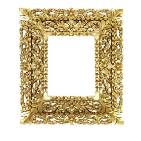 "Cedar Wood Frame Double Box Handcarved Design Bronze Leaf Vintage Colonial Art  19""H x 17""W"