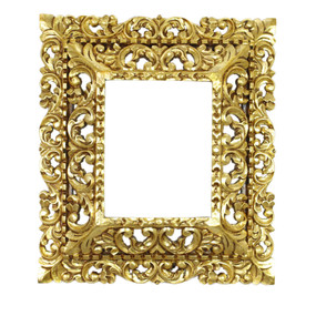 "Cedar Wood Frame Double Box Handmade Handcarved Bronze Leaf Colonial Art  19""H x 17""W"