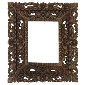 "Cedar Wood Frame Double Box Handcarved Design - 15""H x 13""W (87JA-014-002)"