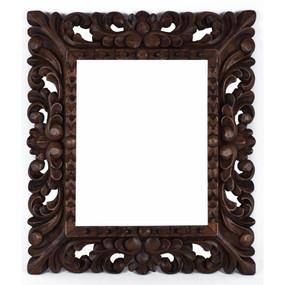 "Cedar Wood Frame Handmade Handcarved Design - 15""H x 13""W  (87B-014-003)"