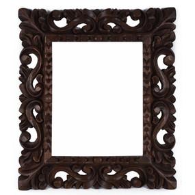 "Cedar Wood Frame Handmade Handcarved Design - 15""H x 13""W  (87P-014-003)"
