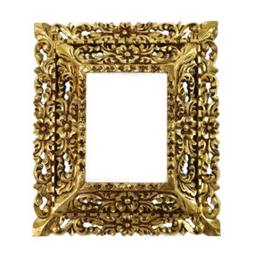 "Cedar Wood Frame Double Box Handmade Handcarved Bronze Leaf Vintage Colonial Art  15""H x 13""W  (87JA-021-002)"
