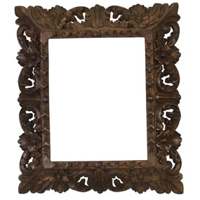 "Cedar Wood Frame Handmade Handcarved Design - 15""H x 13""W (87K-014-003)"