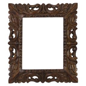 "Cedar Wood Frame Handmade Handcarved Design - 15""H x 13""W (87D-014-003)"