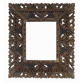 "Cedar Wood Frame Double Box Handmade Handcarved - 19""H x 17""W (87NA-014-003)"