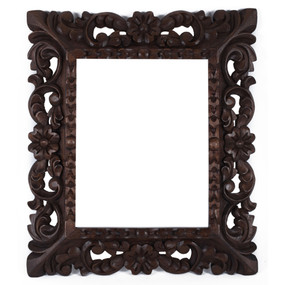 "Cedar Wood Frame Handmade Handcarved Design - 15""H x 13""W (87C-014-003)"