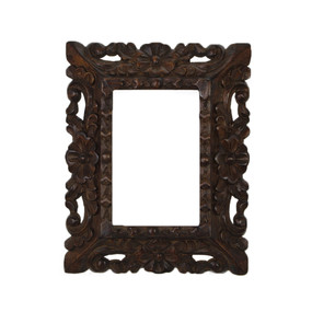 "Cedar Wood Frame Handmade Handcarved Design - 9.5""H x 8""W (87C-014-001)"