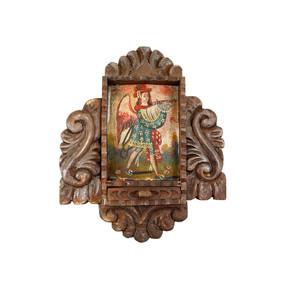 Military Archangel Colonial Cuzco Peru Handmade Wood Retablo Art Oil Painting