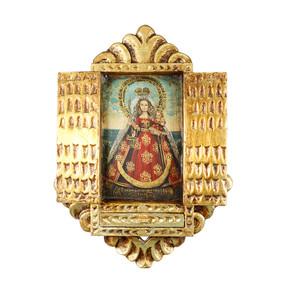 Virgin And Child Colonial Cuzco Peru Handmade Wood Retablo Framed Oil Painting