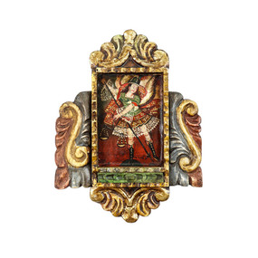 Archangel Michael Colonial Cuzco Peru Handmade Wood Retablo Art Oil Painting
