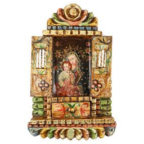 Virgin And Child Colonial Cuzco Peru Handmade Wood Retablo Folk Art Oil Painting