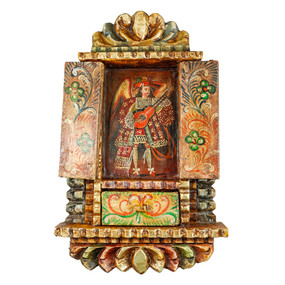 Musician Archangel Colonial Cuzco Peru Handmade Wood Retablo Framed Oil Painting