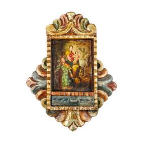 Flight From Egypt Colonial Cuzco Peru Handmade Wood Retablo Art Oil Painting (4424)