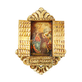 The Annunciation Colonial Cuzco Peru Handmade Wood Retablo Framed Oil Painting (4420)