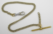 Early 1900s Silver Plated Watch Fob Chain with T Bar
