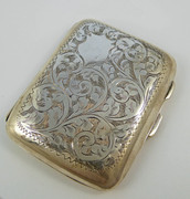 Antique 1928 Fancy Engraved Sterling Silver Cigarette Case Gold Gilt