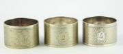 Three Antique Silver Napkin Rings Monogrammed Numbered 1 2 5