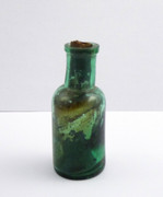 Small Antique 1800s Green Glass Bottle