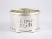 "Antique Hallmarked Sterling Silver Napkin Ring Monogrammed ""EGW"""