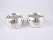 """Pair of Antique Hallmarked 1885 Sterling Silver Napkin Ring Monogrammed """"WM"""" and """"WB"""""""
