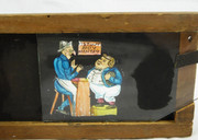 Mid 1800s Hand Painted Glass Magic Slide in a Cedar Frame Stout Boy Wanted