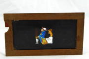 Mid 1800s Hand Painted Glass Magic Slide in a Cedar Frame Man and Rabbit
