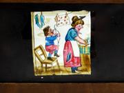 Mid 1800s Hand Painted Glass Magic Slide in a Cedar Frame Boy with Bow Arrow