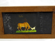Mid 1800s Hand Painted Glass Magic Slide in Cedar Frame Bull with Dog