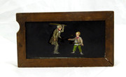 Mid 1800s Hand Painted Glass Magic Slide in Cedar Frame Teacher with Cane