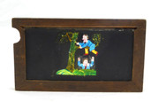 Mid 1800s Hand Painted Glass Magic Slide in Cedar Boy Falling Out of Tree