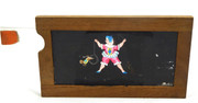 Mid 1800s Hand Painted Glass Magic Slide in Cedar Frame Lady & Circus Dog