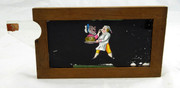 Mid 1800s Hand Painted Glass Magic Slide in Cedar Frame with Chef
