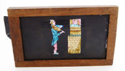 Mid 1800s Hand Painted Glass Magic Slide in Cedar Frame Lady in Tower Violinist