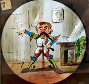 1800s Set of 9 Hand Painted Glass Magic Slides Jack the Giant Killer