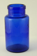 Antique 1800s Antique Blue Cobalt Glass Bottle Stamped 12