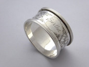 "Antique 1901 Hallmarked Sterling Silver Napkin Ring Monogrammed ""Bertha"""