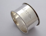 "Antique 1908 Hallmarked Sterling Silver Napkin Ring Monogrammed ""Auty"""