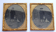 Pair of 1800s Victorian Ambrotype Photographs Boy on the Beach with Boat