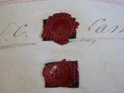 3 Page Antique June 1838 Leather Vellum Parchment with Wax Seals