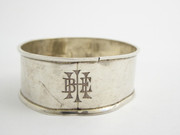 Antique 1915 Hallmarked Sterling Silver Napkin Ring Monogrammed (Worn) (E)